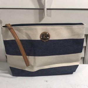 TOMMY HILFIGER blue cream canvas makeup travel bag